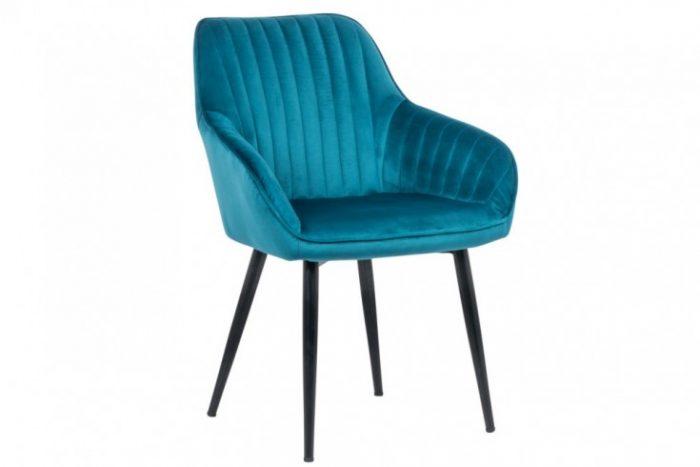 Krzesło TURIN turkus aksamit podłokietniki