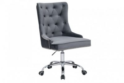Krzesło biurowe VICTORIAN szare z podłokietnikiem pikowania chesterfield