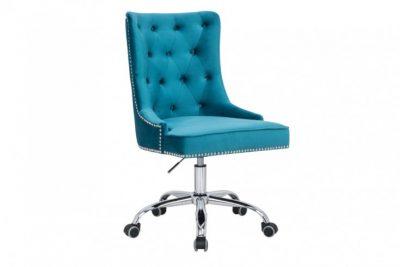Krzesło biurowe VICTORIAN turkus z podłokietnikiem pikowania chesterfield