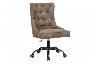 Krzesło biurowe VICTORIAN  jasnobrązowe z podłokietnikiem pikowania chesterfield