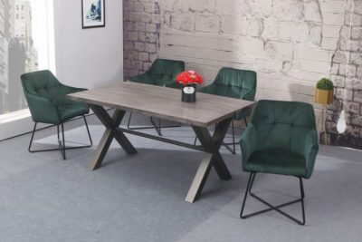 Krzesło LOFT aksamit zielone z podłokietnikiem