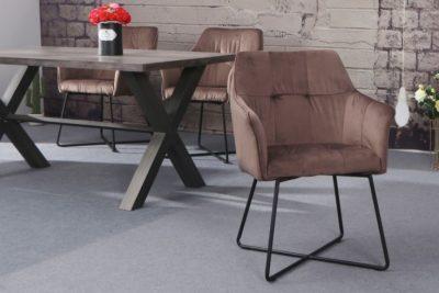Krzesło LOFT aksamit cappuccino z podłokietnikiem
