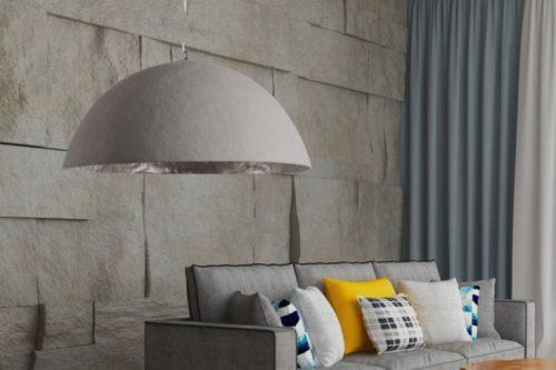 Stylowa lampa wisząca GLOW 70cm szara betonowa
