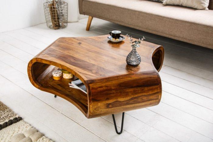 Stolik kawowy Organic Living 90 cm drewno Sheesham
