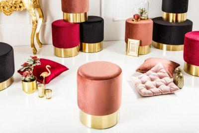 Elegancki taboret MODERN BAROCK pudrowy róż aksamit