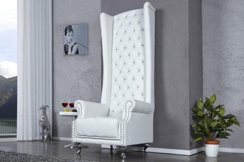 Fotel ROYAL biały ekskluzywny tron