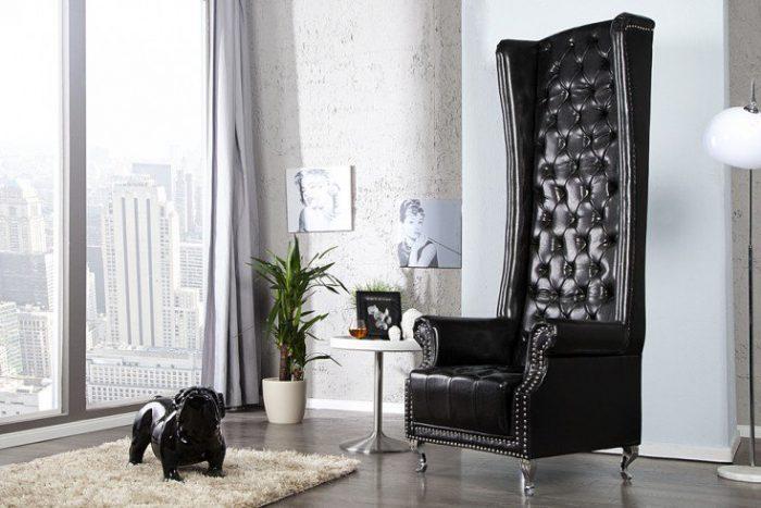 Fotel Heritage czarny ekskluzywny