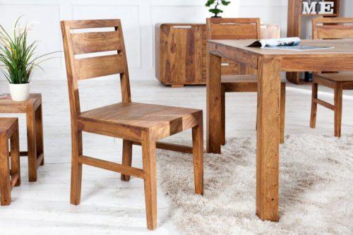 Solidne krzesło do jadalni PURE drewno Sheesham