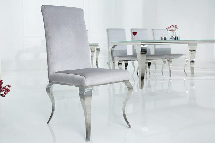 Krzesło MODERN BAROCK srebrno-szare stylowe