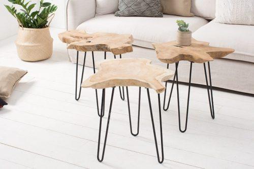 Ekskluzywny stolik z drewna tekowego WILD 55cm