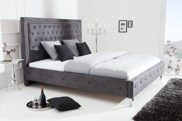 Nowoczesne łożko do sypialni EXTRAVAGANCIA 180x200cm antyczny szary