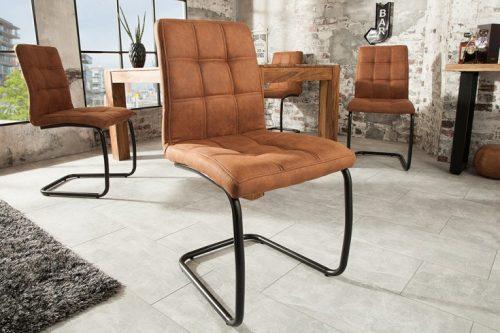 Nowoczesne krzesło w MODENA pikowane brązowe