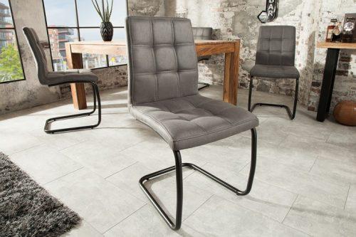 Krzesło MODENA pikowane szare vintage