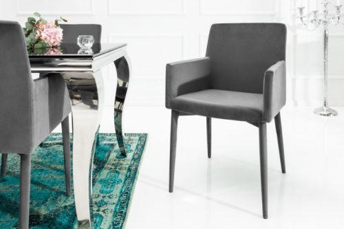 Fotel MILANO z podłokietnikami szary aksamit