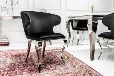 Eleganckie krzesło MODERN BAROCK II aksamit czarne
