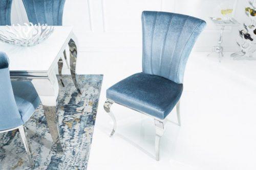 Krzesło MODERN BAROCK III srebrno-niebieskie glamour