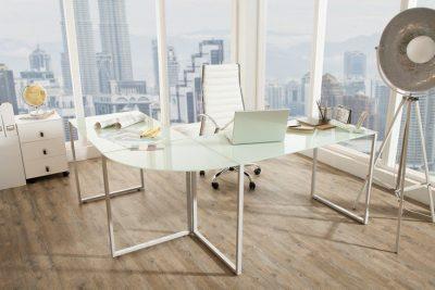 Nowoczesne biurko narożne BIG DEAL szkło matowe białe