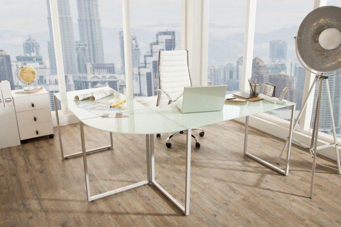 Biurko narożne BIG DEAL szkło matowe białe
