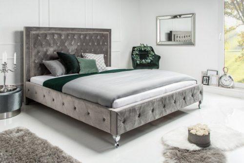 Nowoczesne łożko do sypialni EXTRAVAGANCIA 180x200cm  aksamit szare