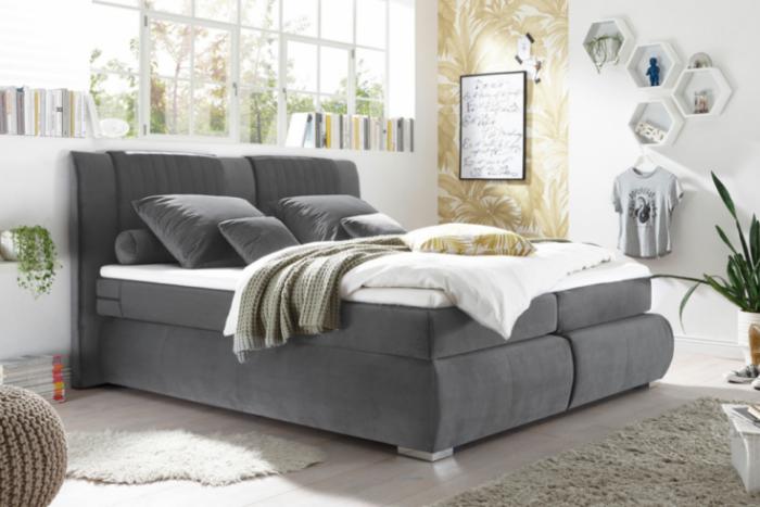 łóżko Cosy 180x200 Szary Aksamit Materac Sprężynowy