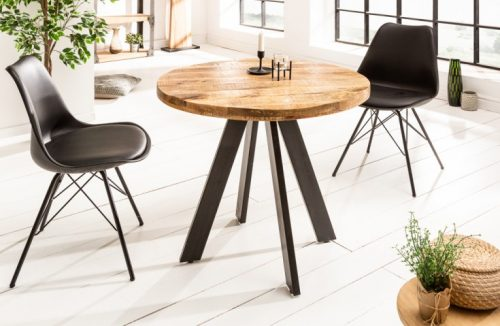 Masywny stół IRON CRAFT okrągły drewno mango 80cm