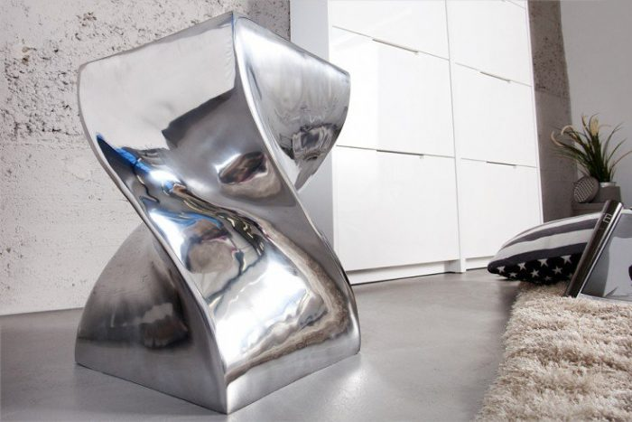 Stolik Twist nowoczesny design aluminium pufa
