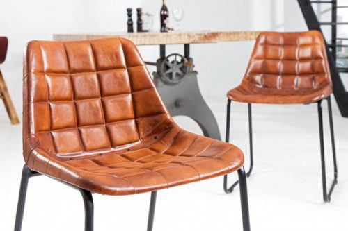 Krzesło TAURUS brązowa skóra naturalna pikowana