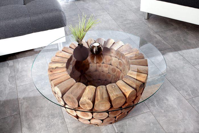 Stolik kawowy PURE NATURE 70cm z drewna tekowego