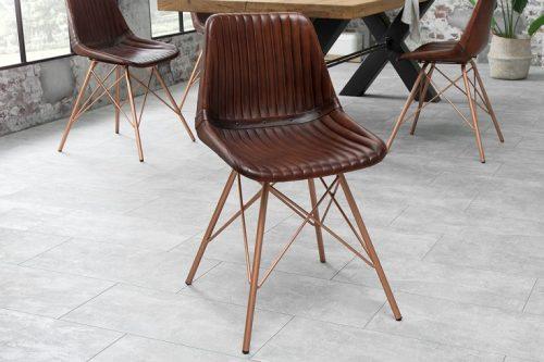 Krzesło Toro brązowe skóra naturalna
