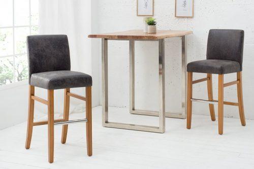 Krzesło barowe VALENTINO sheesham szare hoker