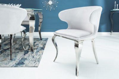 Eleganckie krzesło MODERN BAROCK II aksamit szare
