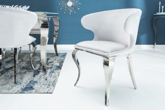 Krzesło MODERN BAROCK II szare aksamit glamour