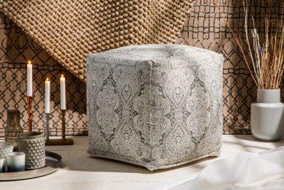 Nowoczesna pufa COSY szara 52cm orientalny wzór