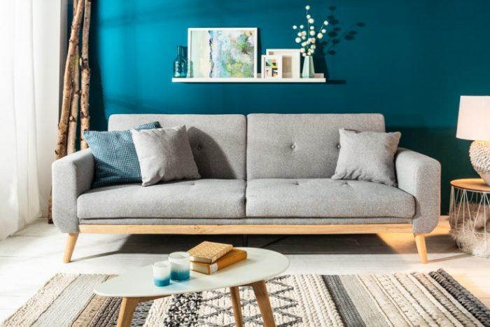Skandynawska sofa SKAGEN 215cm jasnoszara funkcja spania