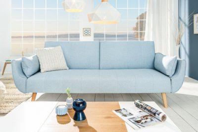 Sofa DIVANI 215cm jasnoniebieska rozkładana skandynawska kanapa