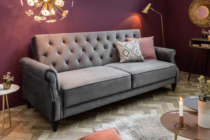 Sofa MAISON BELLE 220cm szara z funkcją spania Chesterfield