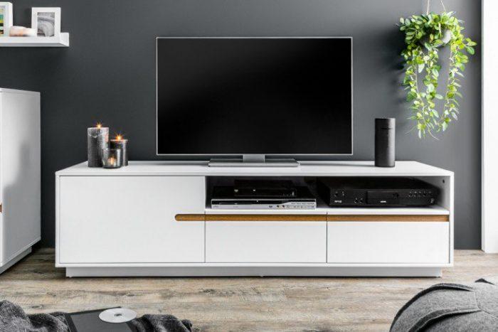 Nowoczesny design TV-Lowboard ELEMENTS 160cm biały matowy