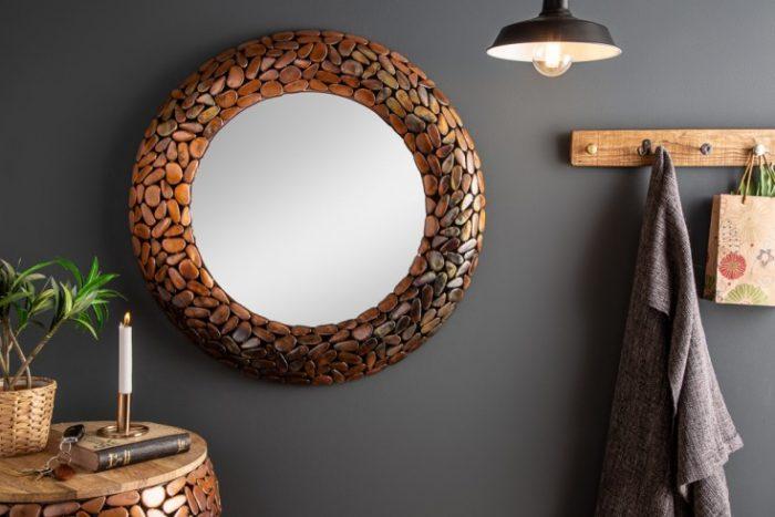 Lśniące lustro MOSAIC 82cm miedziana mozaika