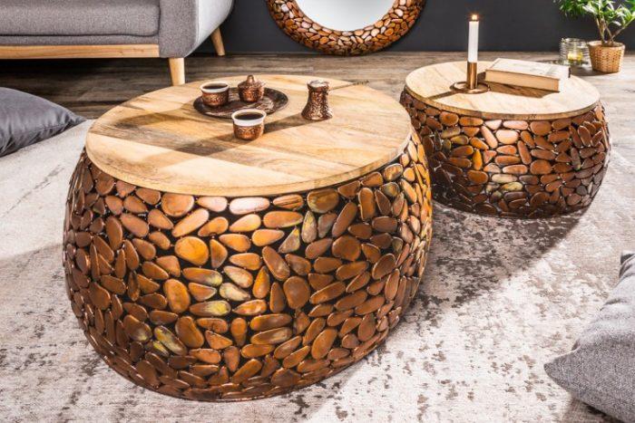 Stoliki Kawowe Mosaic 65cm Miedziane Zestaw