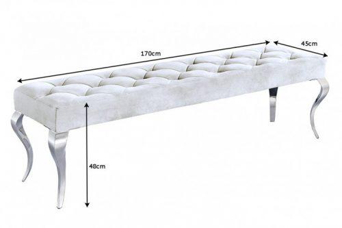 Ławka MODERN BAROCK 170 cm srebrna glamour