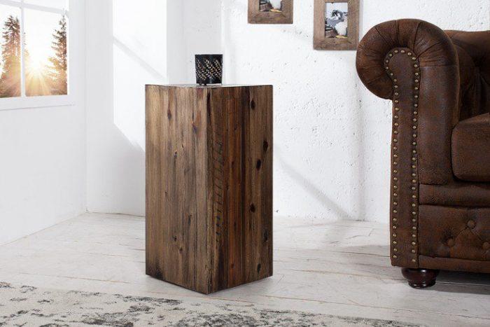 Rustykalna kolumna dekoracyjna 50 cm drewno akacjowe
