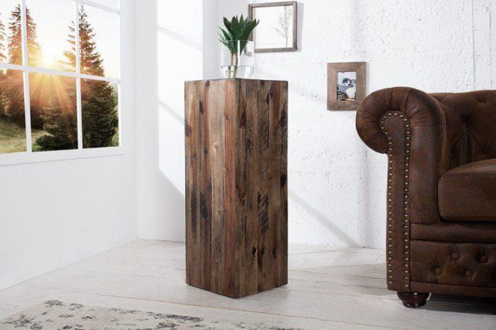 Rustykalna kolumna dekoracyjna 75 cm drewno akacjowe