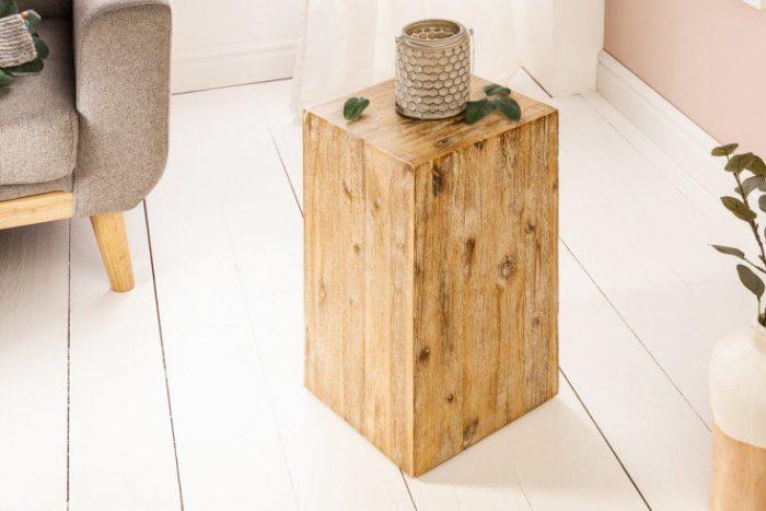 Masywna kolumna dekoracyjna 50 cm drewno akacjowe