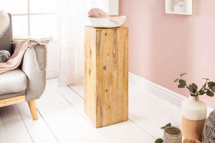 Masywna kolumna dekoracyjna 75 cm drewno akacjowe