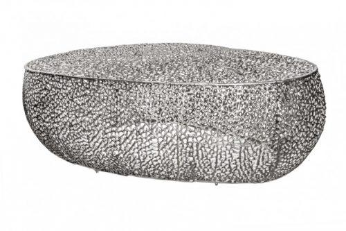 Stolik kawowy LEAF 122cm srebrny