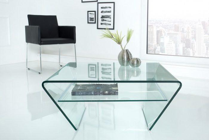 Nowczesny szklany stolik do salonu Ghost 70cm