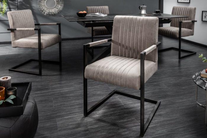 Krzesło BIG ASTON na płozach ciemnoszary z podłokietnikiem