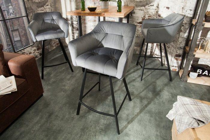 Krzesło barowe LOFT 100cm aksamit srebrnoszare hoker