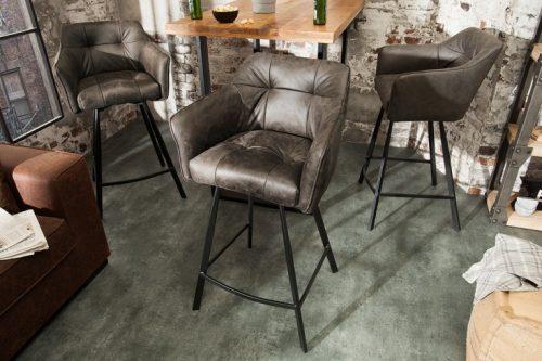 Krzesło barowe LOFT 100cm szarobrązowe hoker