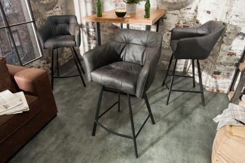 Retro krzesło barowe LOFT 100cm szare hoker
